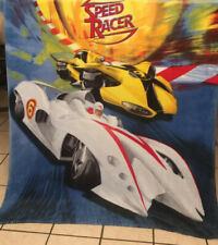 "VGUC-60"" x 44"" Speed racer Cars Yellow White Blanket Fleece Throw toddler Nap"