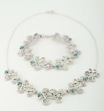OR PAZ .925 Sterling Silver Turquoise Necklace & Bracelet Set, Made in Israel