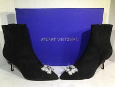 Stuart Weitzman Womens Size 8.5 Kera Black Suede Zip Heeled Boots ZB-593