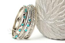 Women's Fashion Silver & Turquoise Stones  Bangles Bracelet Set Turqouise/Silver