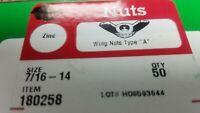 50 Qty. Wing Nuts 7/16 - 14 Type A Zinc