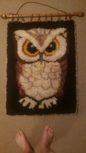 "Vintage Mid Century Yarn Hook Rug Macrame Owl Wall Hanging HUGE 30"" x 40"""