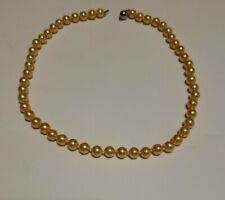 """18"""" Golden South Sea Shell Pearl Necklace 8mm Beads AAA Grade"""