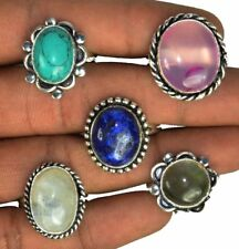 Classic Lot !! 20 PCs. TURQUOISE & LAPIS 925 Sterling Silver Plated Ring Jewelry