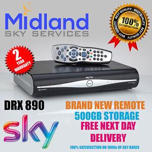 SKY+/PLUS HD BOX 500GB SLIMLINE RECEIVER/RECORDER +NEW REMOTE & POWER CABLE