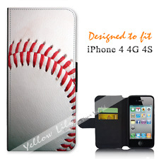 Apple iPhone 4 4G 4S Wallet Flip Phone Case Cover Real Baseball Y00779