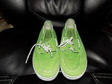 Sperry Top Sider  Green Canvas Boat Shoes Size 6M Women's EUC FREE USA SHIPPING