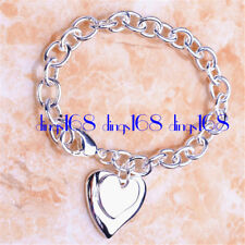 Women's 18K White Gold Plated Gp Lovely Double Heart Chain Bracelet Jewelry H916