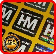 Ihr Logo und Text auf 600 Hologramm Etiketten Garantie Siegel Aufkleber 22x22mm