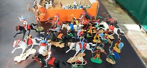 Vintage Plastic Toy Soldiers Cherillia Marx Atlantic 60mm Swoppets Cowboys ect