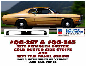 QG-267 & QG-543 - 1972 PLYMOUTH GOLD DUSTER - SIDE STRIPE & TAIL PANEL STRIPE