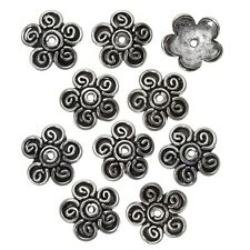 Antique Silver Dome Flower Bead Cap 14mm PK10 (B28/7)
