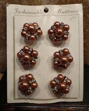 VINTAGE Lot 6 New on Card COSTUME JEWELRY BUTTONS Faux Diamond & Copper color 1""