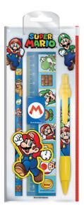 Super Mario Characters Stationery Set Pencil Ruler Pen Nintendo Official New UK