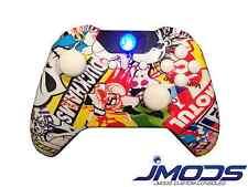 NEW Xbox One 1 Custom Wireless Controller (Stickerbomb) Domed Sticks, Blue Led