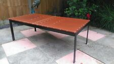 upcycled leather topped coffee table with metal frame