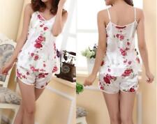 Women Sexy Flower Sleepwear Braces Shirts+Shorts Underwear Pajamas Robes Set LOS