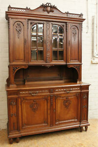 Antique French Louis XVI Style Walnut Buffet Cabinet Sideboard