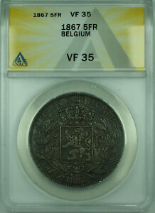 1867 5Fr Belgium ANACS VF-35 5 Florin Silver Coin Toned (Small Head) KM#24