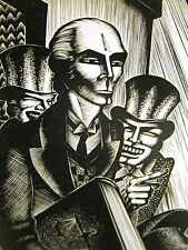 Lynd Ward 1930 MEN LAUGHING at LEGAL SCHOLAR LAWYER LAW Art Deco Print Matted