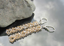 Bicone Golden Shadow Long 925 SILVER EARRINGS made with SWAROVSKI ELEMENTS