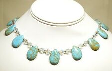 """Water Drop Turquoise and Swarovski Crystal Necklace 16"""""""