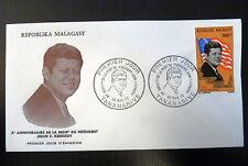 MADAGASCAR  AERIEN 132  PREMIER JOUR FDC    PRESIDENT KENNEDY   300 FMG     1973