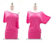 A2 HOT PINK VICTORIA SS Jersey Off the Shoulder Top Shirt Tunic Short Sleeve 3XL