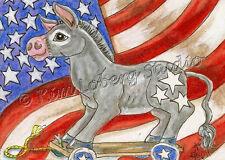 New listing Donkey pull toy Usa Flag aceo Ebsq Kim Loberg Equine horse mini Art Stars Stripe