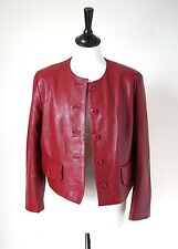 UK 10-Leather BOLERO / Box Giacca in pelle-Oxblood Rosso-YUPPIE