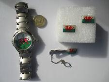 Round Rugby Football Wales Cymru flag Wrist Watch Tie Pin and Cufflinks set #3