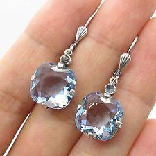 Vtg 925 Sterling Silver Real Blue Topaz Gemstone Drop Earrings