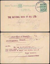 South West Africa 1926 Kg5 Stationery Card Standard Bank Otjiwarongo