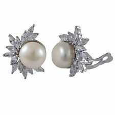 White Marquise CZs Cluster Freshwater Pearls Sterling Silver Clip On Earrings