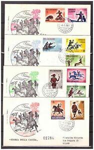 S11746) San Marino 1961 FDCx4 Rome - Hunting History 10v