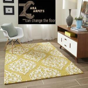 Hand Made Wool Area Rugs Yellow No Sheddings For Luxury Home Decor