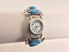 Sterling Silver Turquoise Watch Expansion Bracelet Robert & Bernice Leekya Zuni
