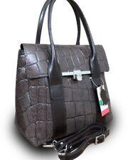 Made in Italy VERA PELLE ital.echt Leder Henkeltasche Handtasche Kroko Braun