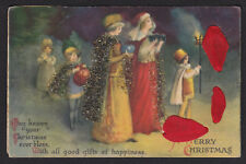 Christmas-Unsigned Clapsaddle-Carrying Gifts-Beads-Ribbon-Wolf-Antique Postcard