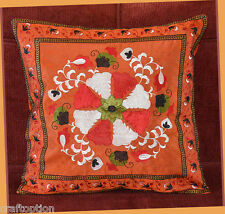 India Silk Embroidery Hand Made dark orange Pillow Cover from Craft Options!