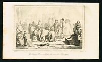 1837 William Pen buying the land of the Native American Indians, Antique Print