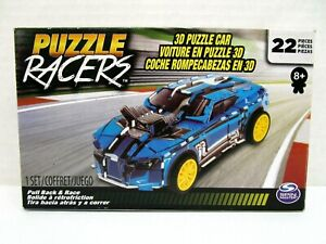 Spin Master Puzzle Racers Blue 3D Puzzle Car Pull Back and Race 22 pieces