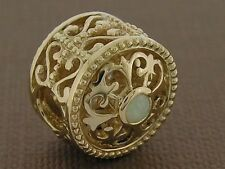 Bd052 SUPERB Genuine 9K Solid Gold Natural Opal Designer Large Bead Fleur-de-Lis