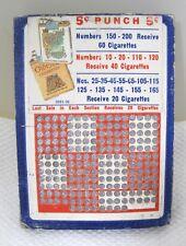 Antique 5 Cent Punch Board Chesterfeild Cigarette Gambling Trade Stimulators