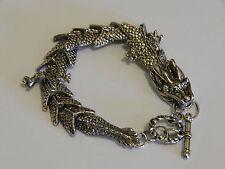Stunning silver tone Mens dragon bracelet 8 inches long