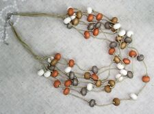 "Necklace 14"" Multi-Strand Layered Natural Wood Bead Orange Bone White Grey Brown"