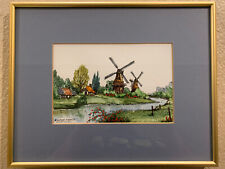 Signed Original Watercolor Painting Robert Wilson Greetsiel Windmills Framed