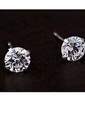 LADIES CLASSIC CRYSTAL DIAMANTE  DIAMONTE STUD EARRINGS 925 SILVER