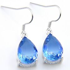 Ocean Blue Watermelon Bi Color Tourmaline Gemstone Silver Dangle Drop Earrings