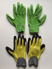 Heavy Duty Grip Yellow Gray And Green Gardening Gloves x2 Pairs (4 Gloves Total)
